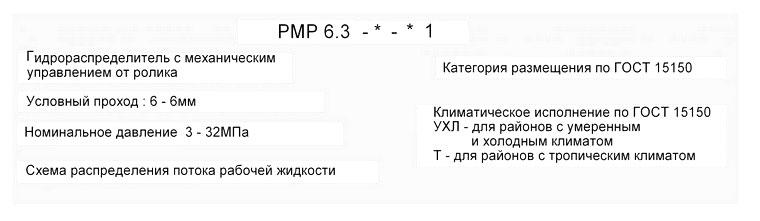 Структурное обозначение при заказе РМР 6.3